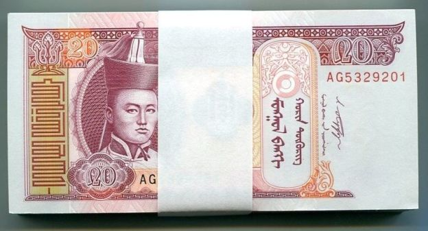 MONGOLIA 20 Tugrik 2013 UNC bundle 100pcs