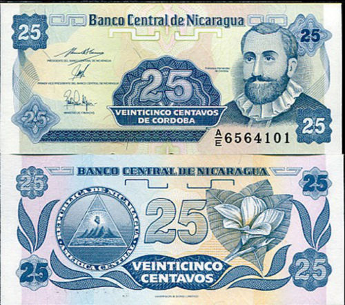 NICARAGUA 25 CENTAVOS 1991 UNCIRCULATED P170 BANKNOTE