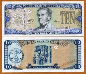 Liberia Africa 10 dollars 2011 P27-New UNC