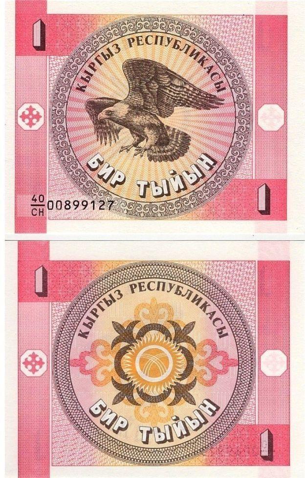 Kyrgyzstan 1 Tyiyn 1993 P-1 Unc Banknote