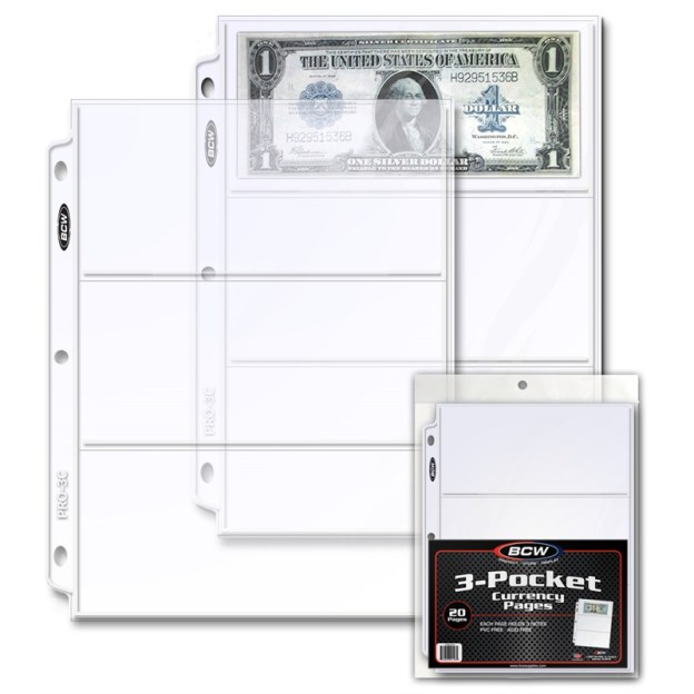 1-PRO3C-20_1_PRO 3-POCKET CURRENCY PAGE (20 CT. PACK)