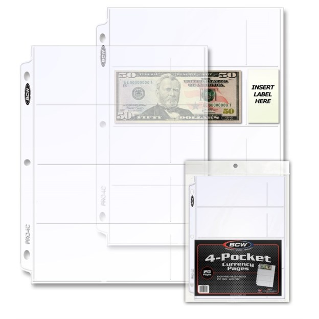 1-PRO4C-20_1_PRO 4-POCKET CURRENCY PAGE (20 CT. PACK)