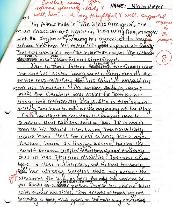 The Glass Menagerie Essay Test - Nicola\u0027s Portfolio