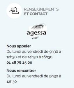 Contact de l'AGESSA présent sur leur site