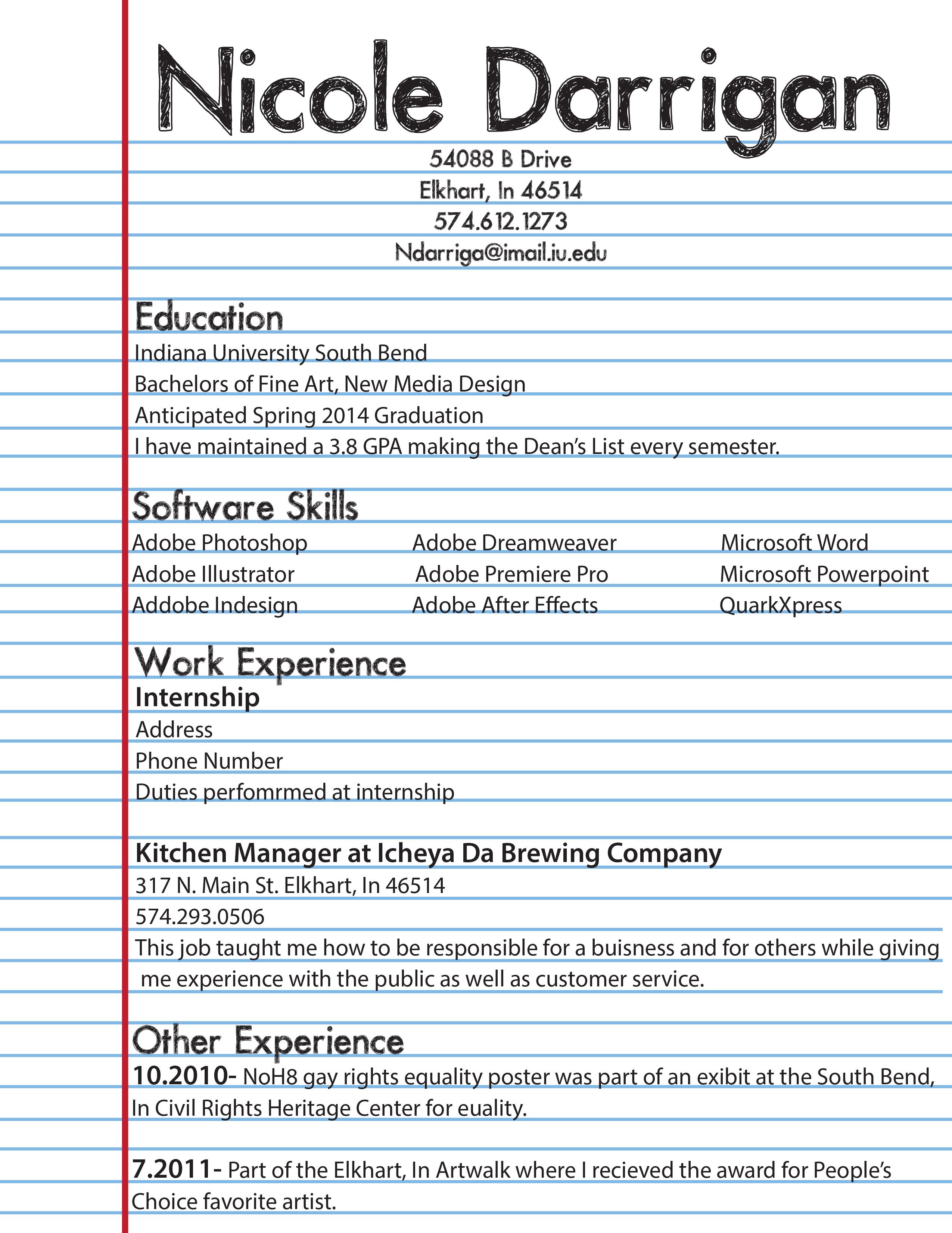 sample resume for first timer