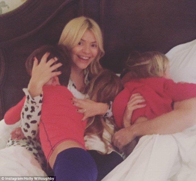 Makeup Free Holly Willoughby Poses With Family On The Morning Of Her Birthday