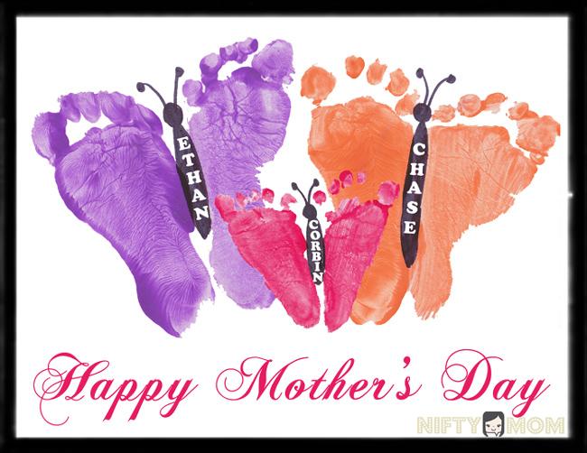 Toddler Footprint Butterflies - Mother\u0027s Day Gift Idea