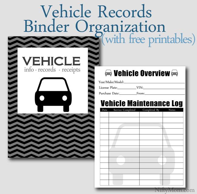 Vehicle Documents Binder Organization {Free Printables}