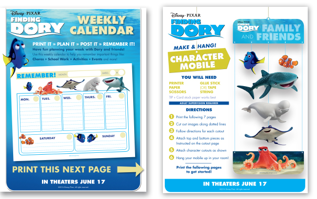 FINDING DORY Printable Memory Game  Activity Sheets