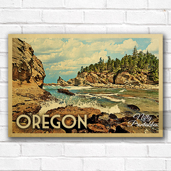 Alfabet Occasion Oregon Vintage Travel Poster - Nifty Printables