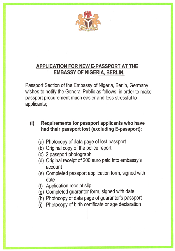 APPLICATION FOR E-PASSPORT - lost passport form
