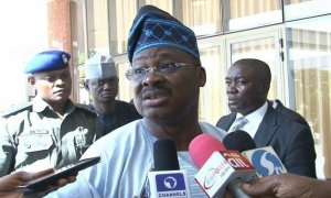 Ajimobi speaking with the press