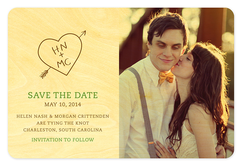 Carved Heart Initials Save the Date \u2039 Wedding « Night Owl Paper