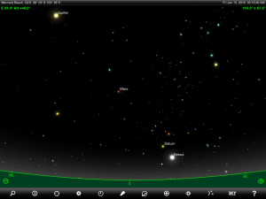 Uranus and Neptune finder chart. Chart prepared for 8:45 pm AEST / 9:45 pm AEDT on Thursday 15 January 2015 for the Gold Coast, Queensland (but will be also useful for elsewhere in Eastern Australia). Chart prepared using the highly recommended Sky Safari Pro tablet app. Used with permission.