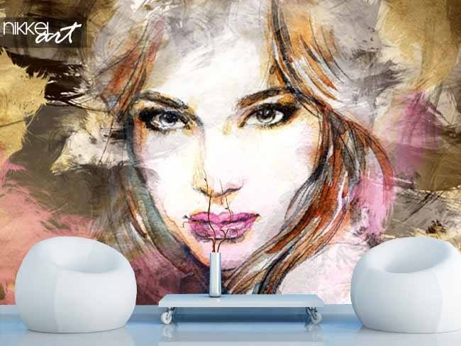 Salon Bas Aluminium Papier Peint Photo Portrait Aquarelle