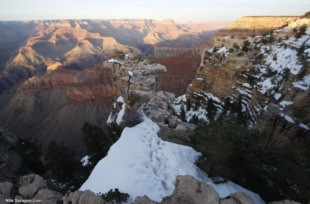 Grand Canyon Snow at Sunset