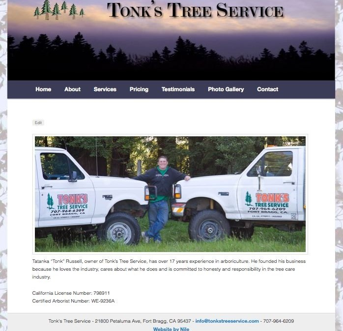 New Website: Tonk's Tree Service