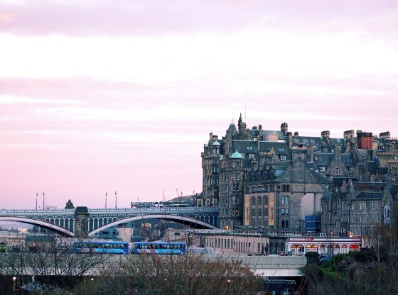 Sunset over North Bridge Edinburgh