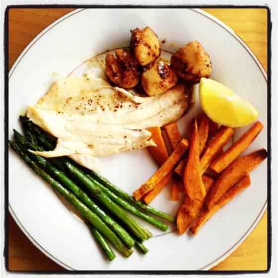 Sea bass and scallops
