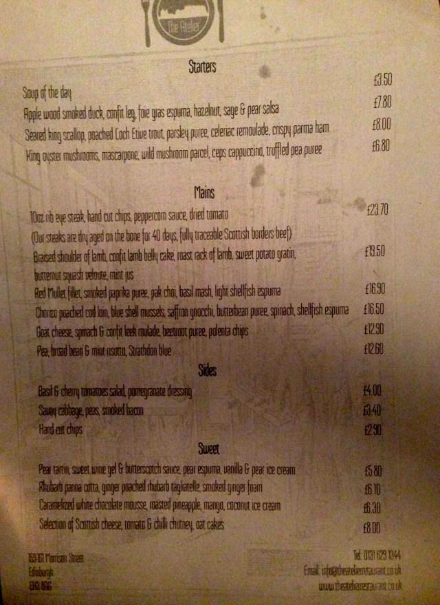 the Atelier Restaurant Edinburgh menu