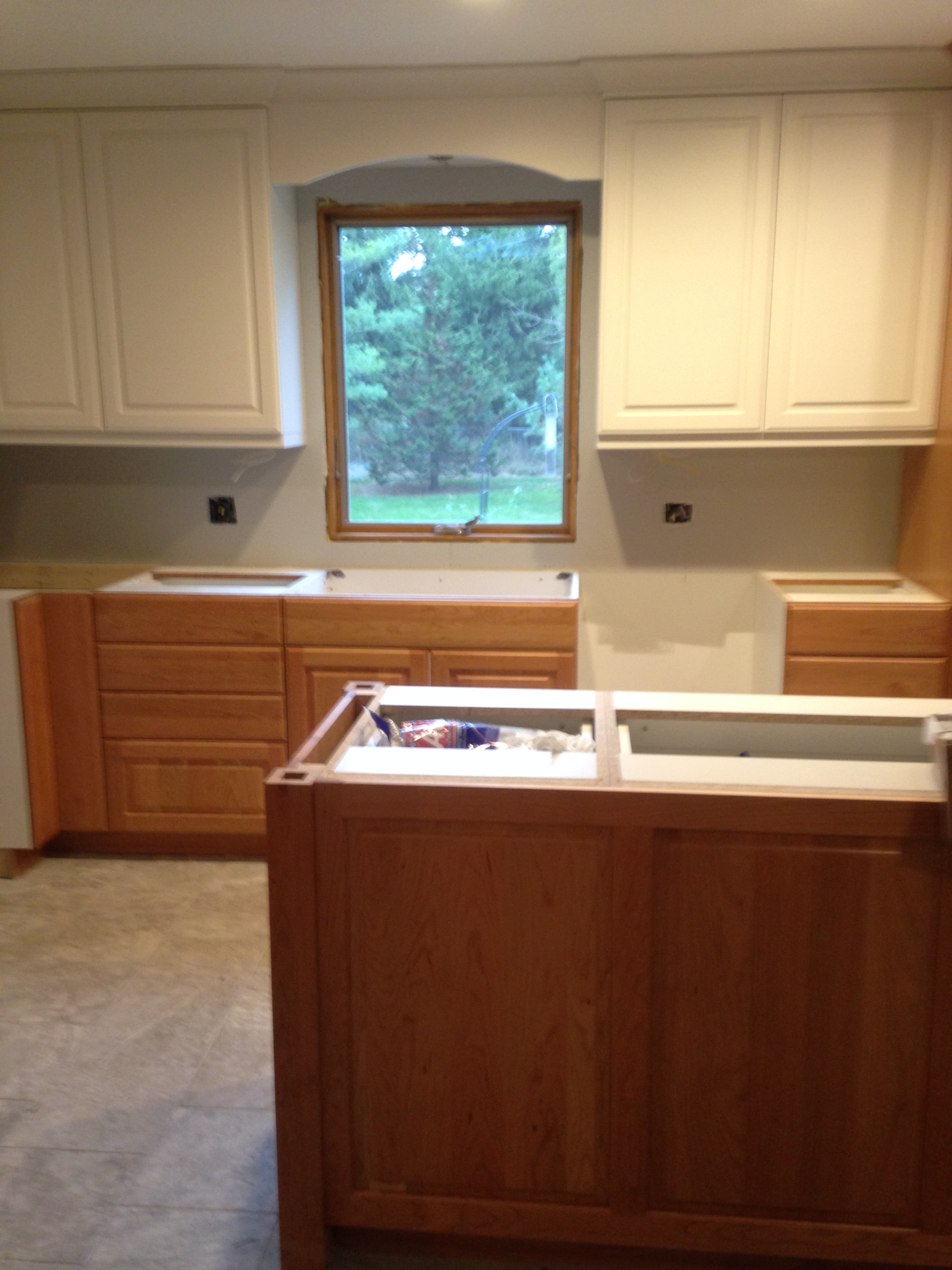 two tone kitchen two tone kitchen cabinets Two Tone Kitchen Clear Cherry and White Painted Cabinets
