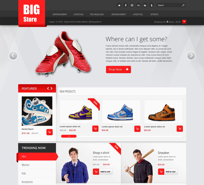 25 Free Beautiful eCommerce PSD Template - ninodezign