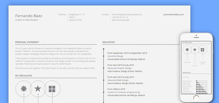 Free Awesome HTML5 Resume CV Template - ninodezign