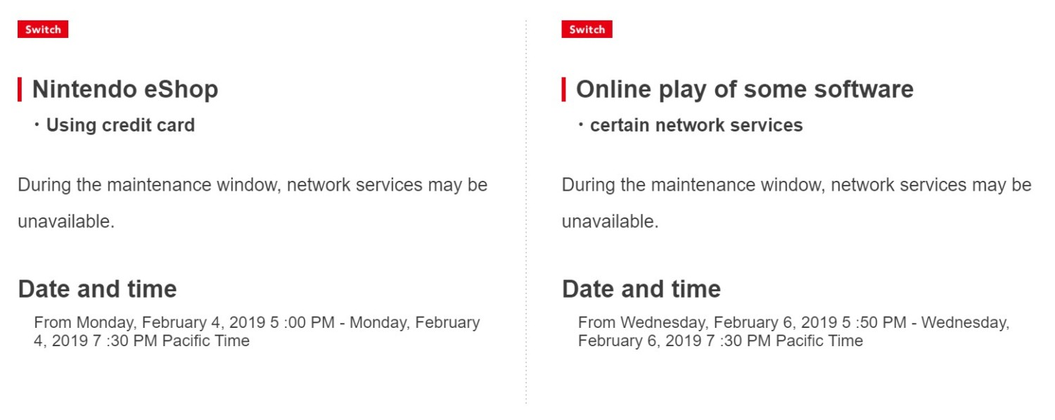 Wednesday 6 February 2019 Nintendo Network Maintenance Scheduled On 4 6 February 2019