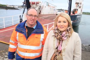 Eddie McDonagh, skipper of the Strangford Ferry, with Chairperson of Newry Mourne and Down District Council, Councillor Naomi Bailie.