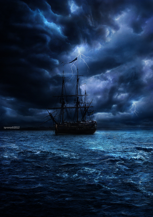 ship in the sea at night