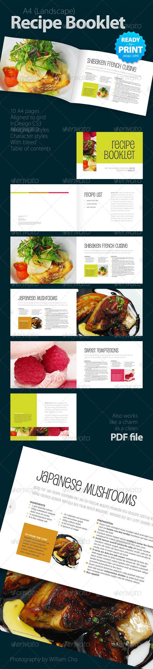 recipe creative booklets design brochures pamphlet