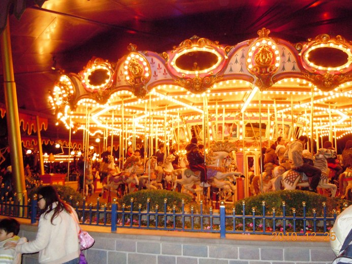 The Lovely Carousel all lit up at night