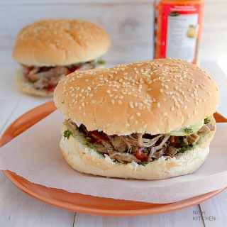 pulled lamb burger