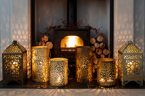Gold Moroccan Candle Holder 24cm Nisi Living