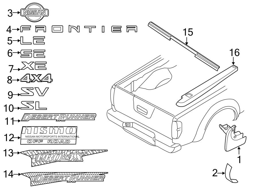 2004 nissan frontier tailgate auto parts diagrams