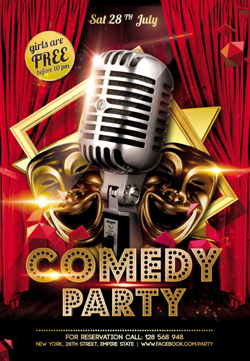 Flyer Template - Comedy Party FB Cover » NitroGFX - Download - comedy show flyer template