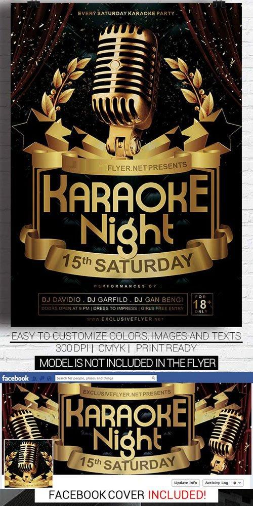 Flyer Template PSD - Karaoke Night Vol 2 + Facebook Cover » NitroGFX