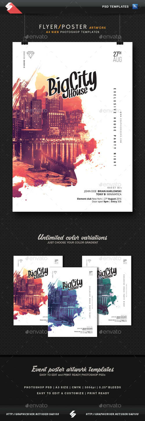 Graphics - Big City House - Party Flyer Template A3 16397070