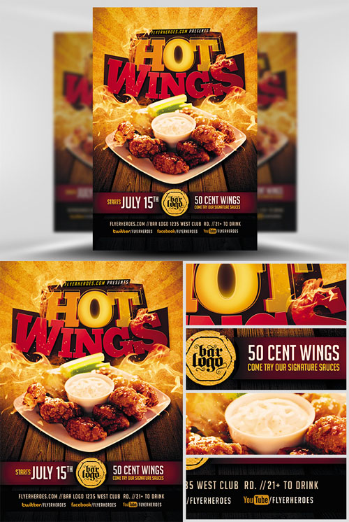 Flyer Template - Hot Wings » NitroGFX - Download Unique Graphics For