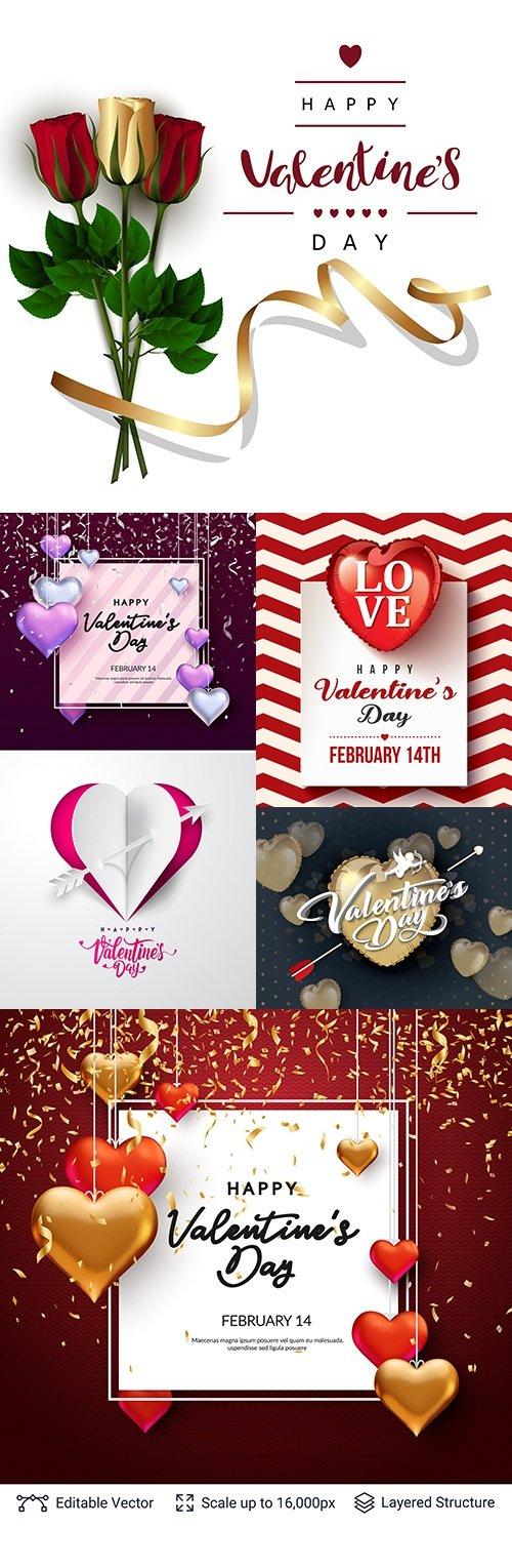 Valentines Day romantic decorative invitation card collection