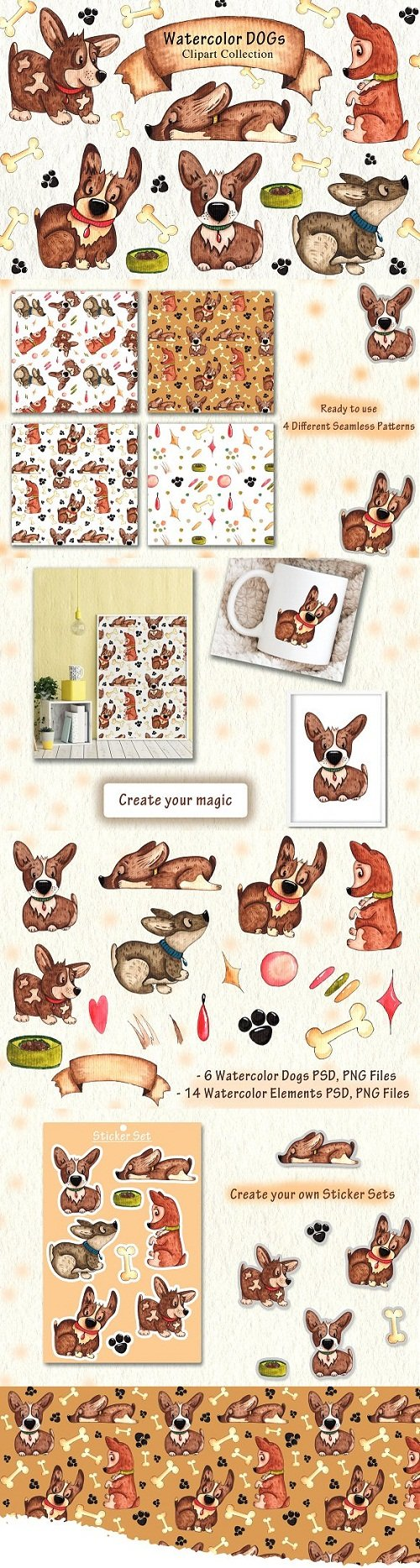 Watercolor DOGs Collection - 3487421