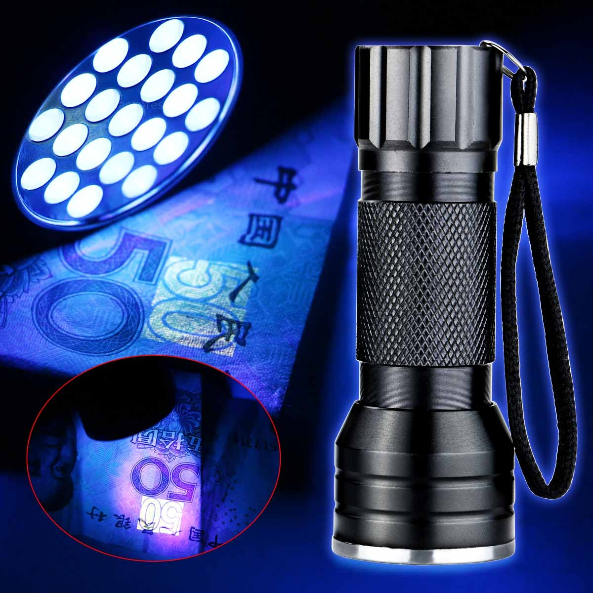 Blacklight Lamp Uv Ultra Violet 21 Led Flashlight Blacklight Light 395nm
