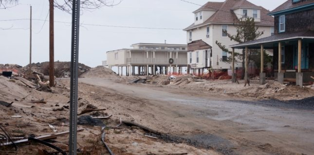Beachfront property at the Jersey Shore affected by Hurricane Sandy