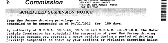 Operating During a Suspension Period - Suspension Notice