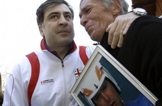 David Kumaritashvili, father of Georgian luge competitor Nodar Kumaritashvili, receives condolences from Georgia's President. (Reuters Photo)
