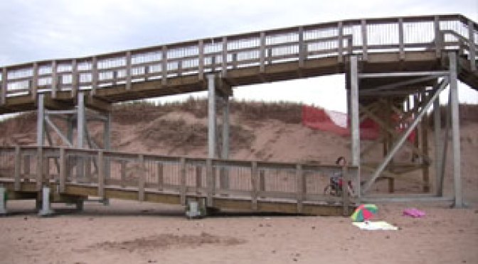 Parks Canada wheelchair ramp at Brackley Beach not accessible