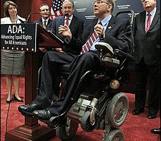 Rep. Jim Langevin (D-R.I.) speaks at an event to mark the American With Disabilities Act's 20th anniversary. The House also voted this week to make the Internet and television more accessible. (Alex Brandon/associated Press)
