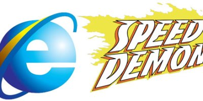 IE 9 the new speed demon (Speed Demon logo by J.G. Roshell)