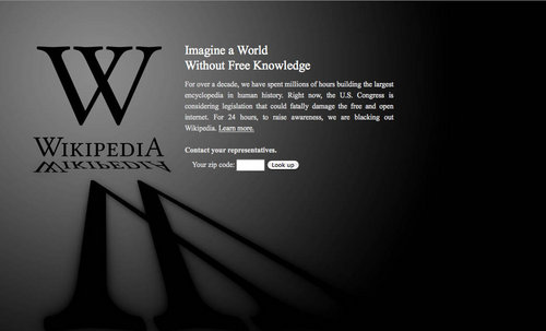 Wikipedia goes dark for SOPA protest