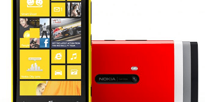 Nokia Lumia 920 in yellow, red, white, grey and black polycarbonate